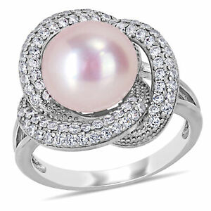 Amour Sterling Silver Pink Cultured FW Pearl & CZ Swirl Halo Ring