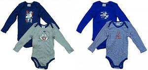 Looney Tunes Pack of 2 Cotton Long Sleeve Bodysuits Vests, Rompers for Baby Boys
