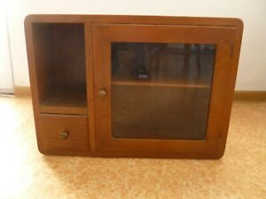 Antique  Vintage Wood&Glass  Medicine Cabinet Apothecary Wall Chest