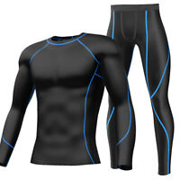 Mens Red Compression Shirt Pants Under Base Layer Tights Gym Workout Clothes