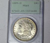 PCGS MS65 1885-O Morgan Silver Dollar New Orleans Mint Gem BU Rattler