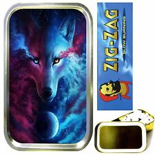 MYSTIC WOLF SMOKING SET, GOLD 1oz TOBACCO TIN, ROLLING PAPERS & FILTER TIPS