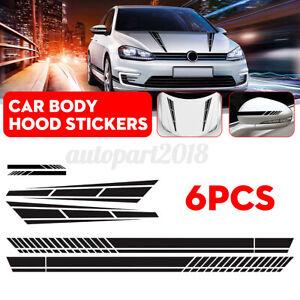 6Pcs Car Side Door Body Hood Decal Stripes Sticker Racing Style Decals Black