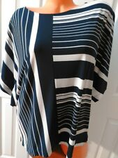 CHICO'S blue & White Striped Bat Wing Sleeve Stretchy Blouse Women's Size 1 (M)