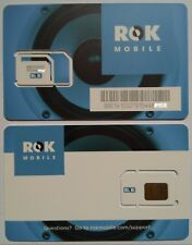 Lot of 8 Brand New Rok Mobile Gsm Blue At&T Triple Cut Sim Cards