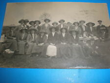 Old  postcard large group of people in their hats c1920s