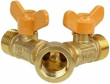Solid Brass Y Ball Valve Comfort Grip for Oil & Gas Hoses Connector Splitter.