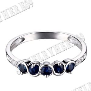 Sterling Silver Prong Pave Setting Round 2.5mm Sapphires Real Diamonds Fine Ring