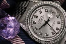 Relojes de pulsera automáticos unisex de acero inoxidable plateado