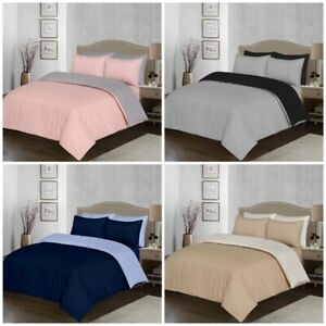 Plain Reversible Duvet Quilt Cover Bedding Set in All Sizes with Pillowcases