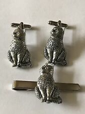 Cat On A Pair of Cufflinks With A Tie Slide Set A15 Made From English Pewter