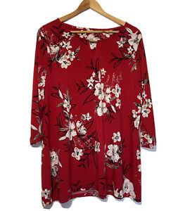 Red Floral Top Bon Marche Size 20 Longer Length T-Shirt Smart Casual Lightweight