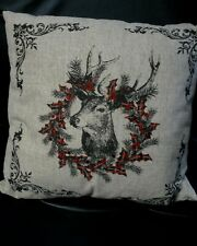 Reindeer & Wreath Throw Pillow ~ Christmas Holiday
