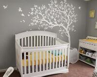 White nursery tree wall decals Large nursery tree sticker mural art - KW032