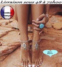 Chaine de cheville Boho Bohème luxe Argentée  sexy bracelet pied Taille      X06