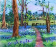 More details for 'english landscape with bluebells' wool fibre painting original artwork by raya