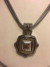 Chicos Mixed Metal Crystal Necklace Gold Silver Plate EUC