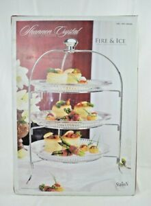 """Godinger: Shannon Crystal """"Fire & Ice"""" Three Tiered Crystal Server #506589 (New)"""