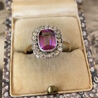 Art Deco 9ct Rose Gold Silver Ring Paste Diamond & Amethyst UK O.5, US 7 1/4