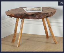 Vintage English Burr Walnut Tree Trunk Root Slab Coffee Occasional Side Table