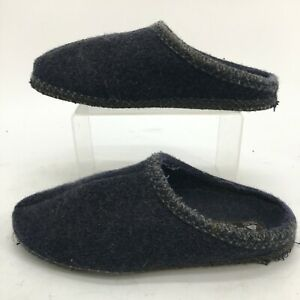 Haflinger Mule Slippers Womens 43 Blue Pure Wool Casual Slip On Comfort Shoes