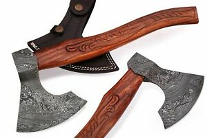 Custom Hand Made Damascus steel Rose wood Engraved Handle Axe with leather cover