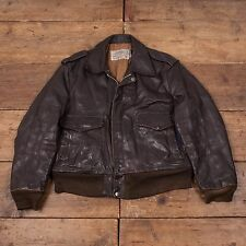 "Mens Vintage 674MS USA Schott Leather Bomber Flight Jacket Brown 44"" L R4067"