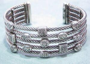 David Yurman Confetti Sterling Silver 0.62 Carat Round Diamond Cuff Bracelet