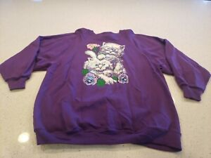 Vintage Hanes Her Way white Cats Crewneck Sweatshirt Purple Size 1X 1990s