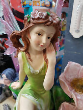 FAIRY WITH FLOWER WATER FEATURE FOUNTAIN HOME OR GARDEN STATUE ORNAMENT DECOR