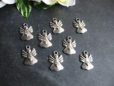 8 Metallanhänger Engel mit Herz in silber, 2 cm, Schmuck - Charivari herstellen