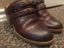 Sofft Women Mules Cognac Brown Braided Leather Clogs Slip on Block Heel SZ 7