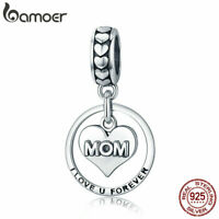 BAMOER Authentic.925 Sterling Silver Charm Mother's love Dangle DIY for Bracelet