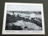1910 mounted print constantinople ( rumelie hissar and bosporus  )
