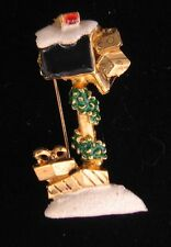 Signed Danecraft Holiday Christmas In North Pole Mailbox Brooch