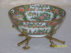 Chinese Rose Medallion Monumental CenterPiece Bowl w/Stand