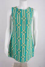 JB Julie Brown Womens Shift Dress Sz 4 Green Turquoise Geometric Retro Silk