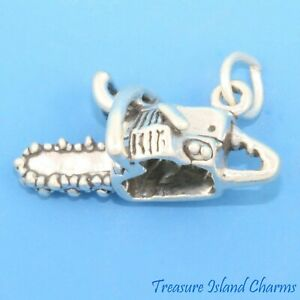 Chainsaw Tool Chain Saw 3D 925 Sterling Silver Charm Wood Cutter MADE IN USA