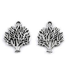 10pcs Life Tree Beads Tibetan Silver Charms Pendant DIY Jewelry Making 20*16mm
