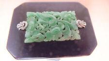 Natural jadeite Antique FRENCH HELFT JOEL Paris Enamel Silver Box -DIAMOND