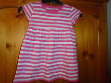 Pink, white and grey stripe cap sleeve dress, MARKS AND SPENCER, 9-12 months