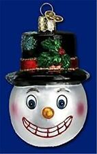 VINTAGE SNOWMAN HEAD BLACK TOP HAT OLD WORLD CHRISTMAS GLASS ORNAMENT NWT 24049