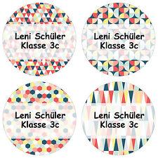 24 individuelle Aufkleber Schule – mit Geometrische Formen Motiv für Kinder -...