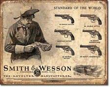 Smith & Wesson Single Double Action Revolvers Models Advertising Tin Metal Sign