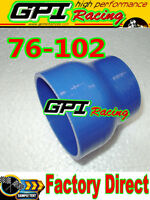 """Silicone Straight Reducer Hose Pipe 76mm to 102mm /3""""-4""""inch Coupler tube BLUE"""
