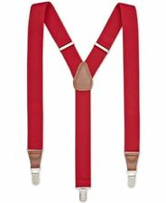 $75 CLUB ROOM Men RED STRETCH CLIP ON ADJUSTABLE SUSPENDERS BRACES END ONE SIZE