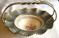 Hammered Aluminum & China Farber & Shlevin Floral Double Handled Basket & Bowl
