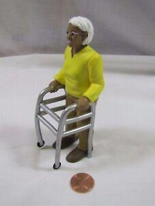 """Dollhouse AFRICAN AMERICAN GRANDMA w/ WALKER Elderly Lady 4.5"""" Tall Piece Rare!"""