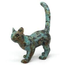"3.8"" Cat Natural Gemstone African Turquoise Hand Carved Animal Statue Decor"