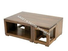 KraftNDecor Contemporary Wooden Coffee Table with Stools in Brown Colour